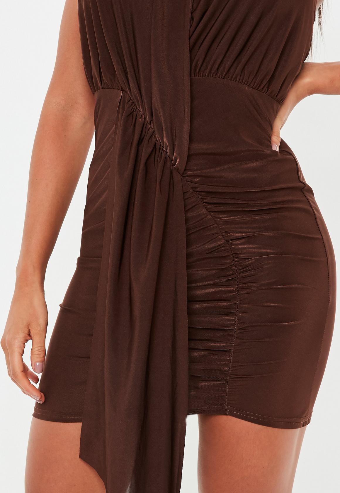 Missguided - robe dos-nu courte tissu drappé  - 3