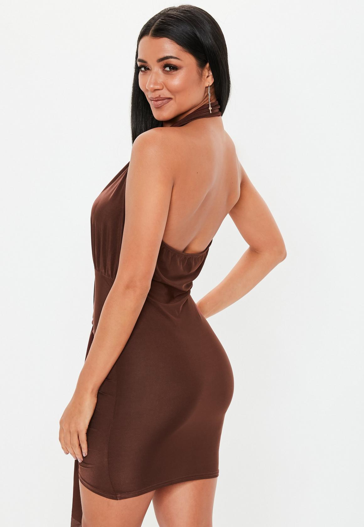 Missguided - robe dos-nu courte tissu drappé  - 4