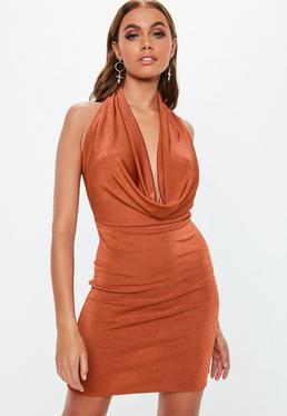 ed51e0fc50 Rust Slinky Extreme Cowl Mini Dress