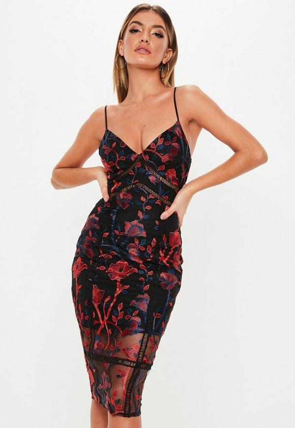 Embroidered Midi Dress