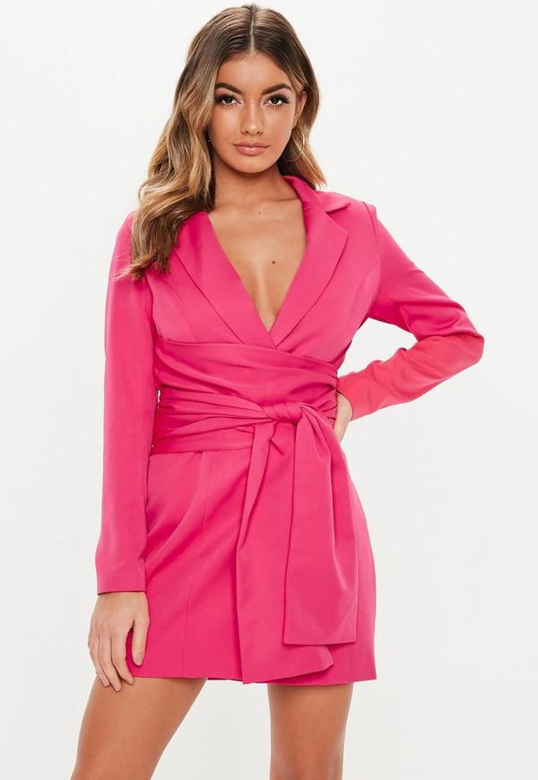 Hot Pink Extreme Wrap Belted Blazer Dress by Missguided