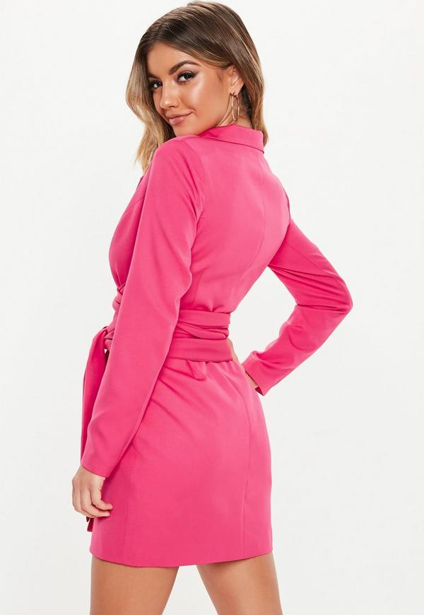 Hot Pink Extreme Wrap Belted Blazer Dress Missguided