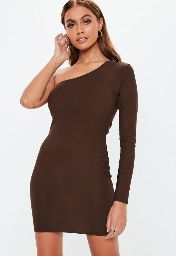 6f485b28736b Chocolate Brown One Sleeve Bodycon Mini Dress