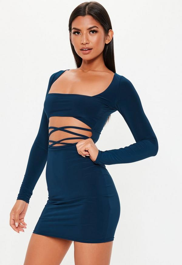 Navy Slinky Cut Out Mini Dress by Missguided