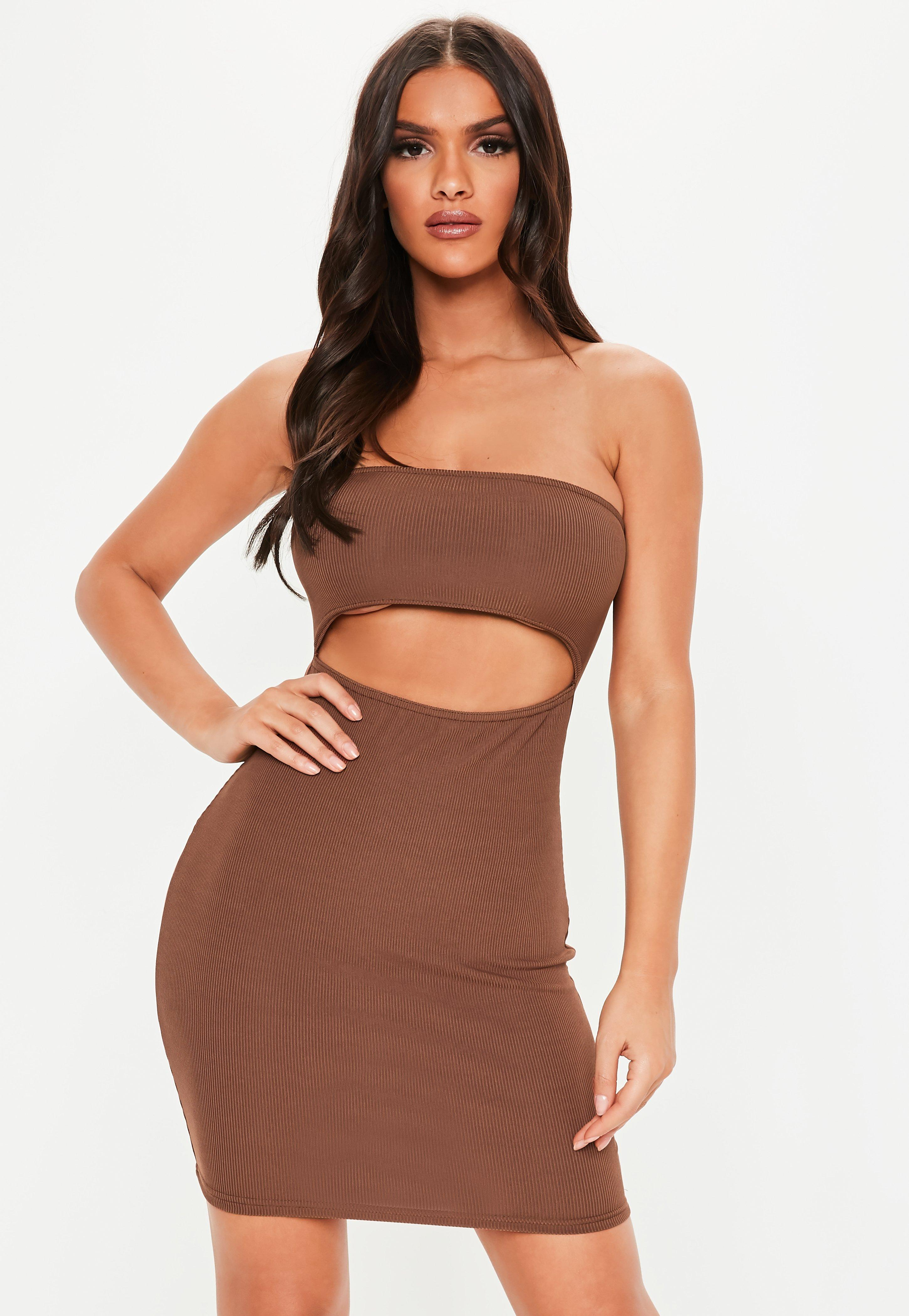 bb1692293443 Chocolate Ribbed Cut Out Bandeau Bodycon Mini Dress | Missguided Australia