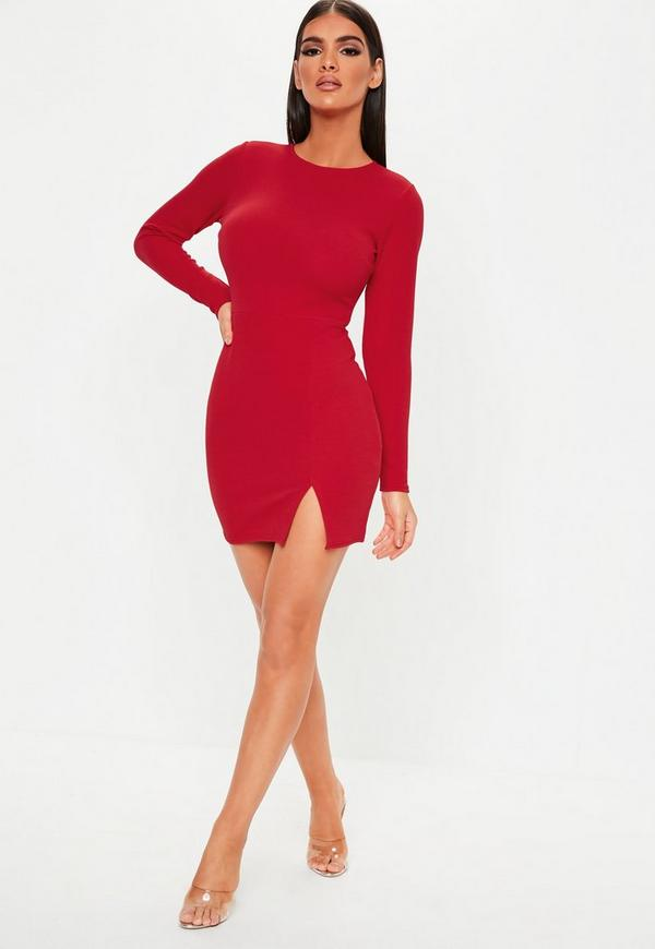 cce10f3c75 Red Crepe Long Sleeve Bodycon Dress. Previous Next