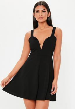 ab65ac2f32 Black Strappy Sweetheart Skater Dress