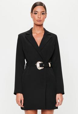 Robe blazer grise imprimé serpent · Robe,blazer noire à ceinture western  Peace + Love