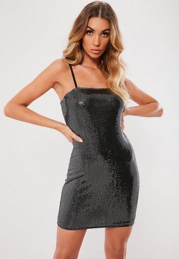 Black Sewn Through Disc Bodycon Mini Dress Missguided