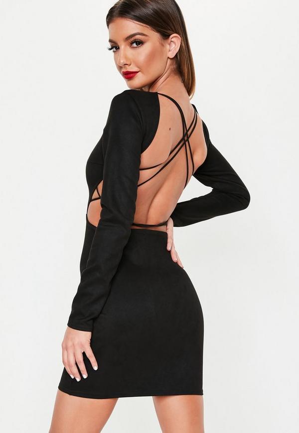 Black Faux Suede Lace Up Back Mini Dress Missguided