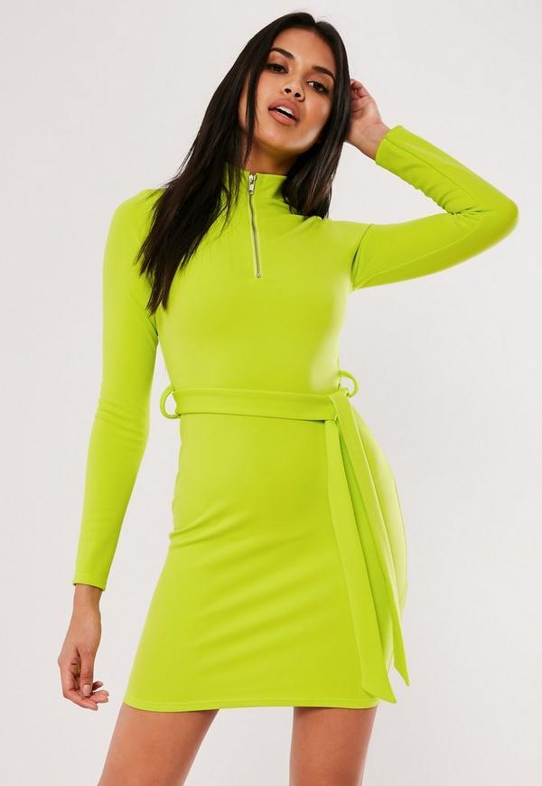 4103e03b0964 Neon Lime Bardot Frill Skater Dress   Missguided Australia