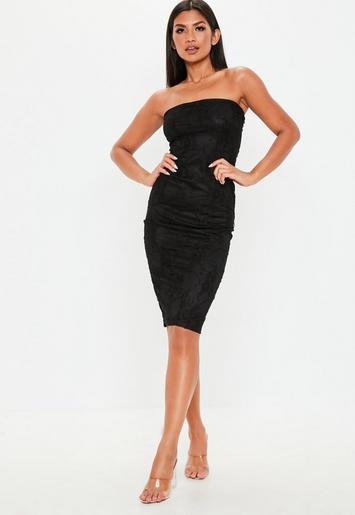 Black Lace Bandeau Midi Dress Missguided