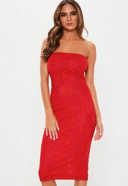 f982c3bdda ... Red Lace Bandeau Bodycon Midi Dress