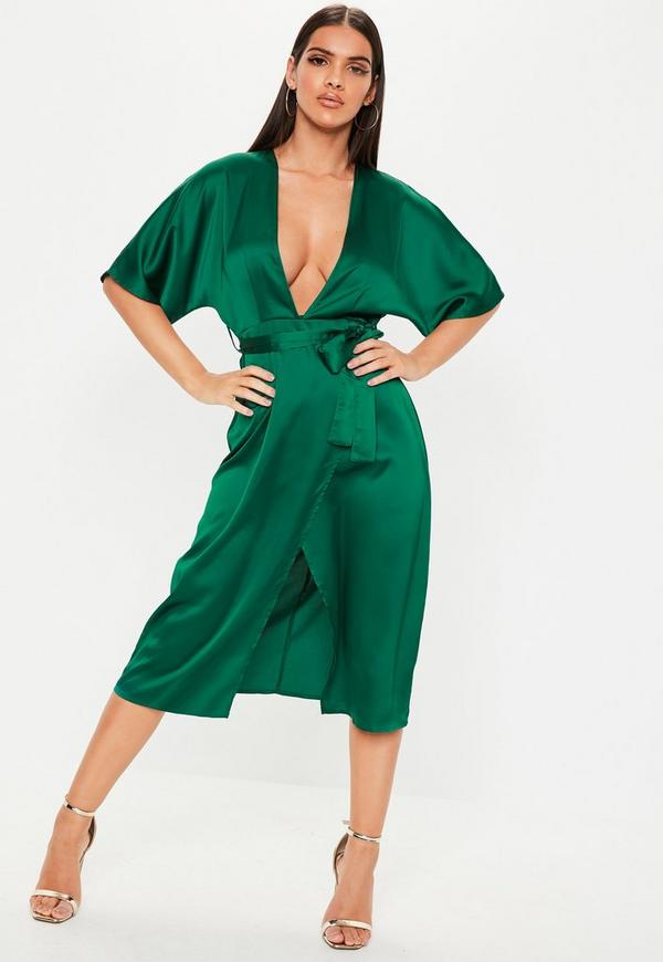 Green Satin Wrap Midi Dress  9d5d438c5