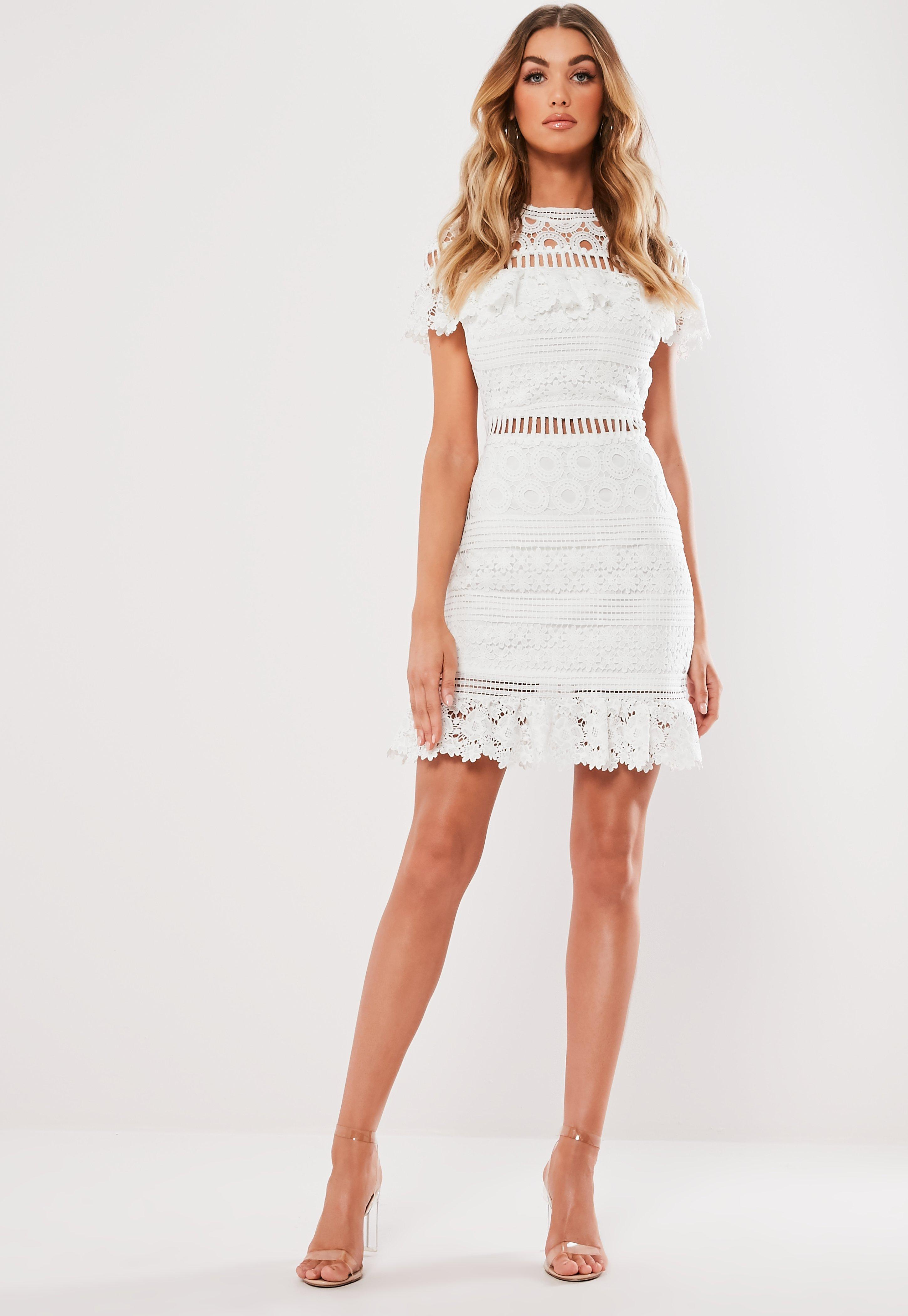 94aa22a3c310e White High Neck Lace Frill Mini Dress | Missguided