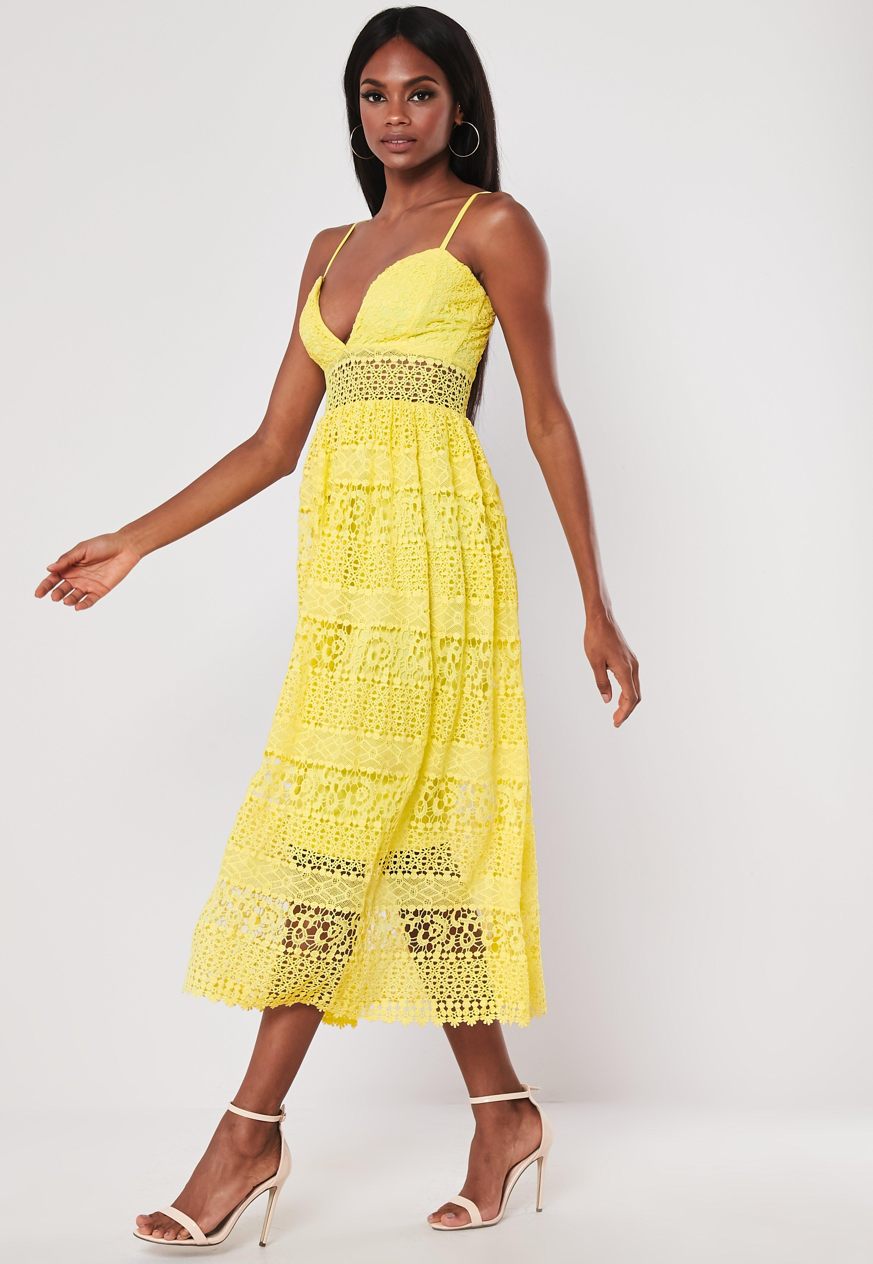 Yellow Strappy Lace Midi Dress by Missguided