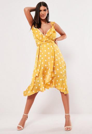 3b2291bb49 Yellow Polka Dot Frill Midi Dress