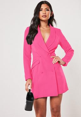 cf8920600a Neon Pink Double Breasted Blazer Dress