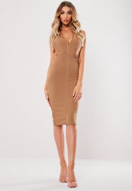 a442bbd643 Bronze Halterneck Bandage Midi Dress