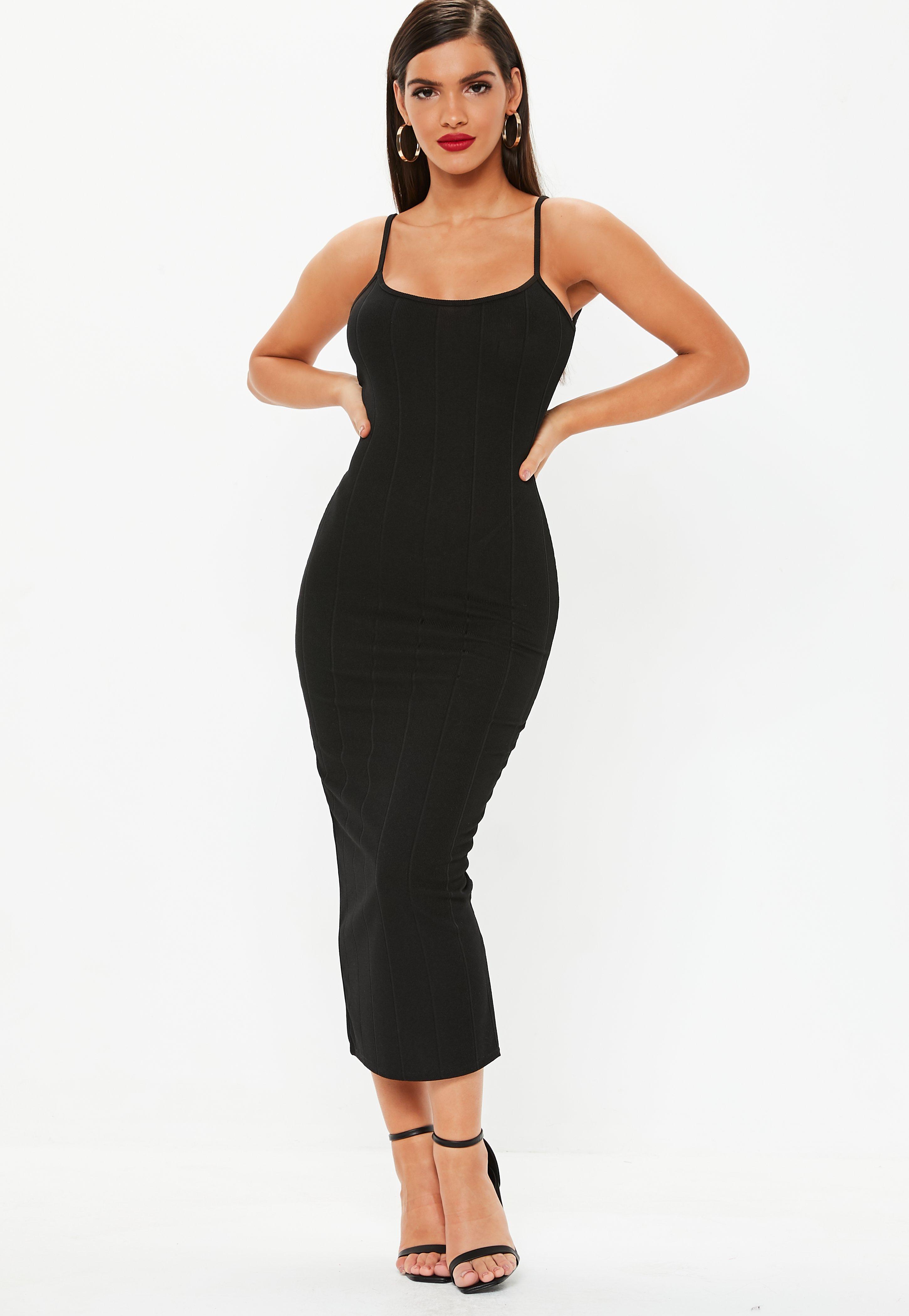 0d1116fa80 Black Scoop Neck Strappy Bandage Bodycon Maxi Dress