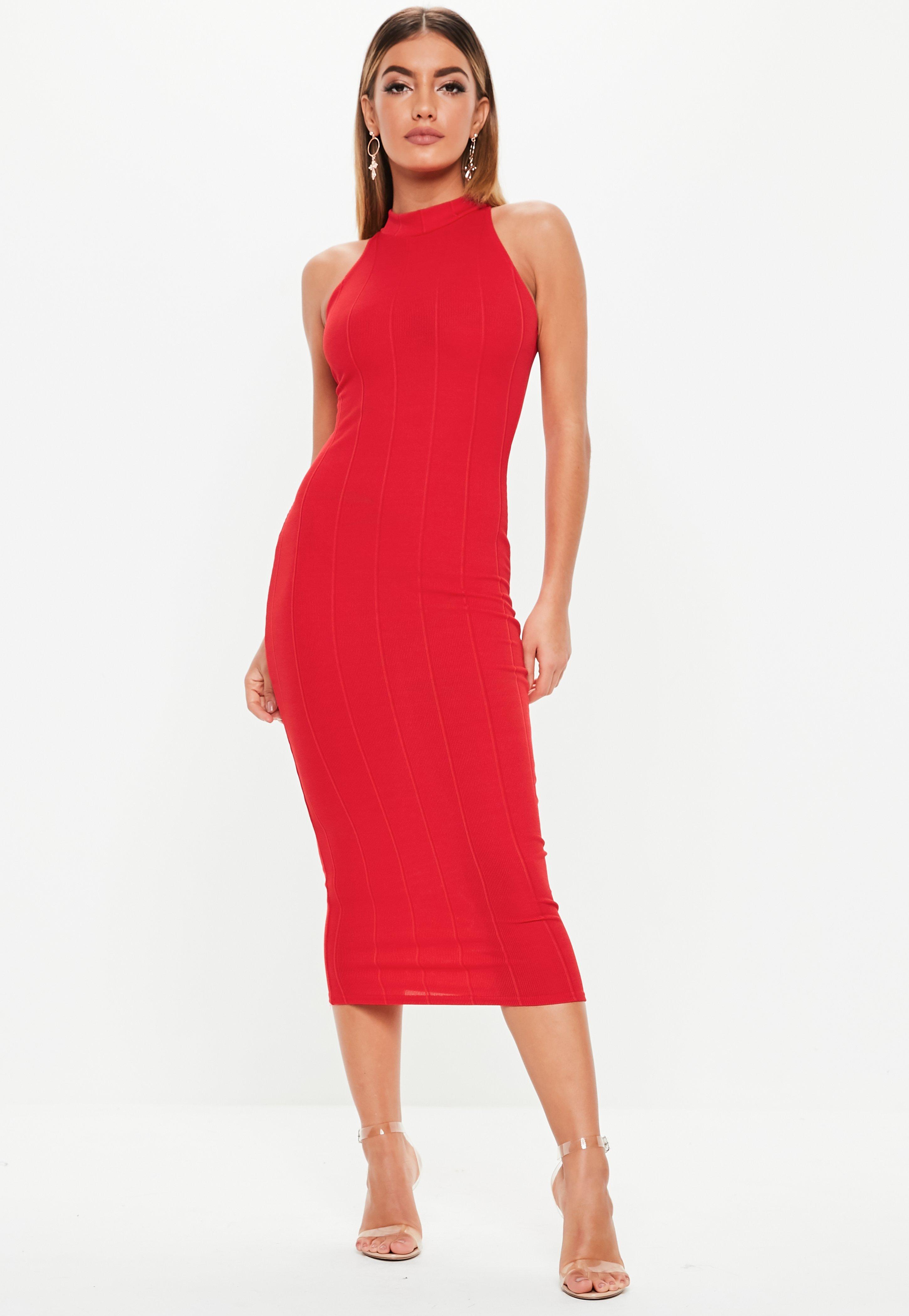 1d397da3fdf9c Red High Neck Bandage Midi Dress