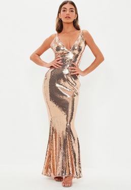 Peace + Love Black Kimono Sleeve Embellished Dress  Rose Gold Sequin Plunge  Fishtail Maxi Dress 13614039e200