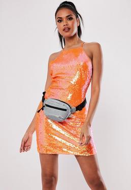 01a1e9df059 Orange Sequin Mini Dress