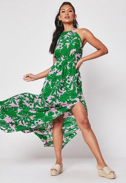 0094d135853 ... Green Tropical Print Halterneck Maxi Dress