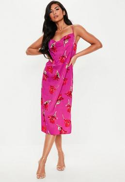 870c1a5fc06 Robe midi rose fuchsia à col bénitier et fleurs