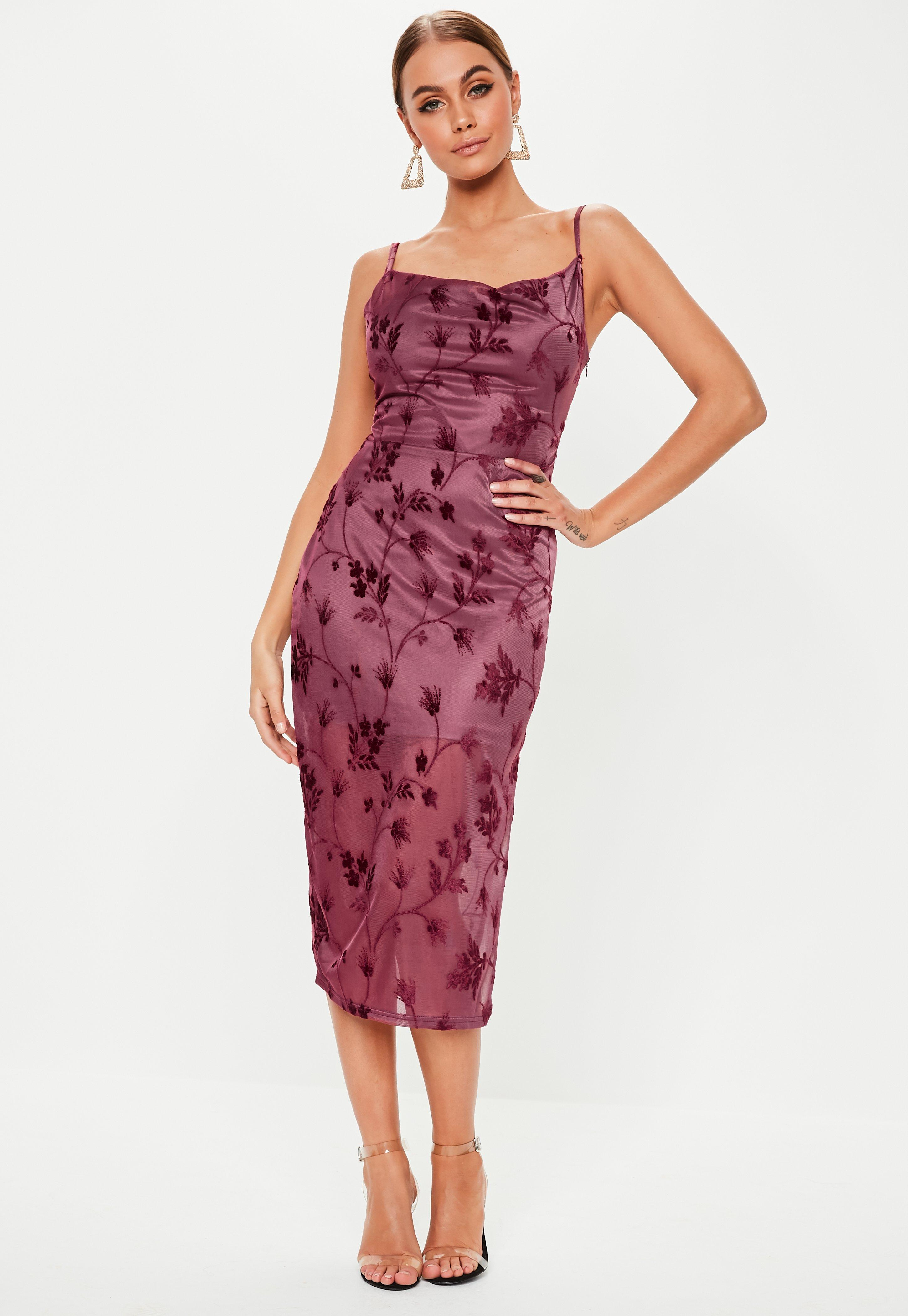 6a4849f9c8f1 Purple Devore Cowl Neck Midi Dress | Missguided