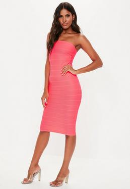 c696a58bfb4 Hot Pink Bandeau Bandage Midi Dress