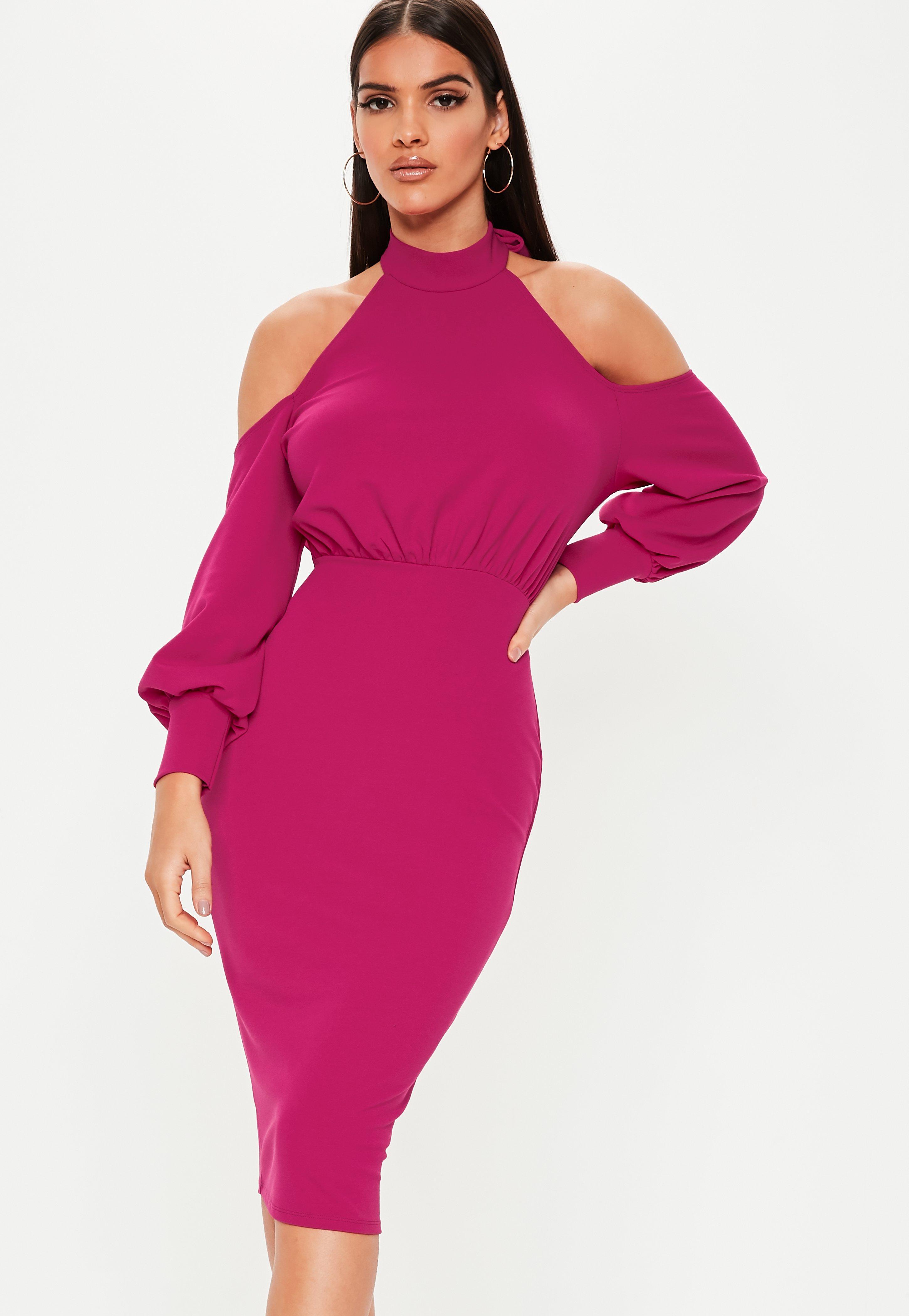 9cb87abbe1d Raspberry Halter Neck Cold Shoulder Midi Dress
