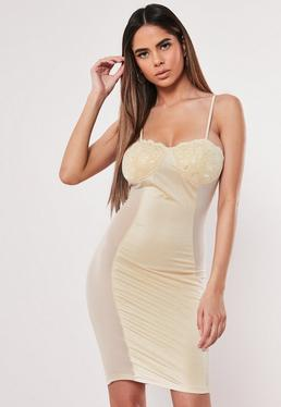 c32739c8a26b ... Nude Lace Cup Satin Bodycon Mini Dress