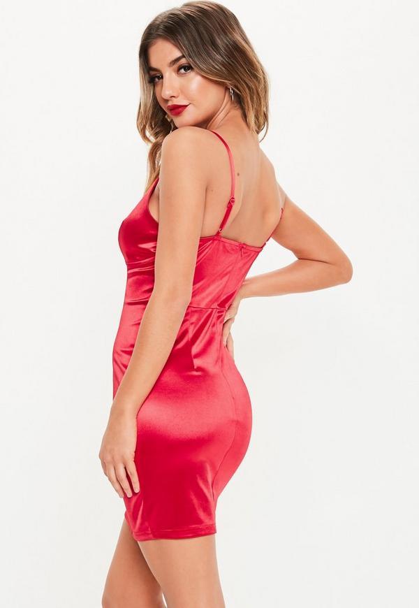 Red bodycon mini slip dress online maternity