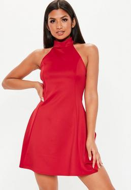 856d6aba8e6 ... Red High Neck Open Back Skater Dress