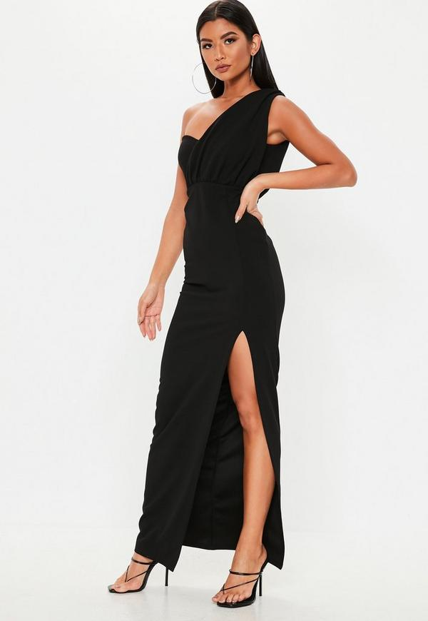 Black One Shoulder Bust Cup Maxi Dress Missguided