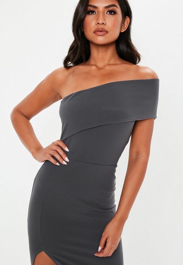 Grey One Shoulder Midi Dress. Previous Next 171bee5bb