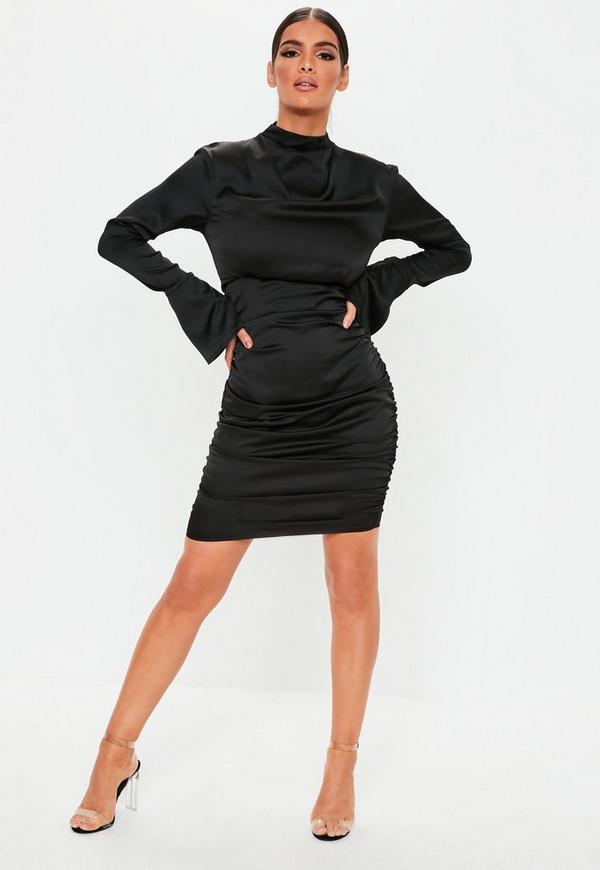 Black Satin High Neck Ruched Mini Dress Missguided Ireland
