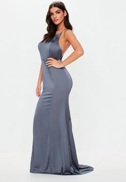 0b29480844 ... Gray Satin Round Neck Backless Maxi Dress
