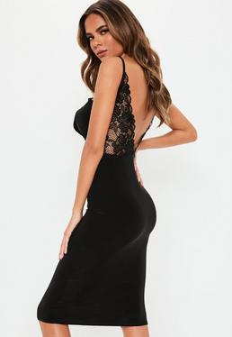 434141ed15 Black Strappy Lace Back Slinky Midi Dress