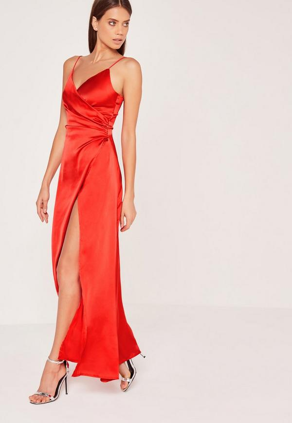 Silky Wrap Over Maxi Dress Red