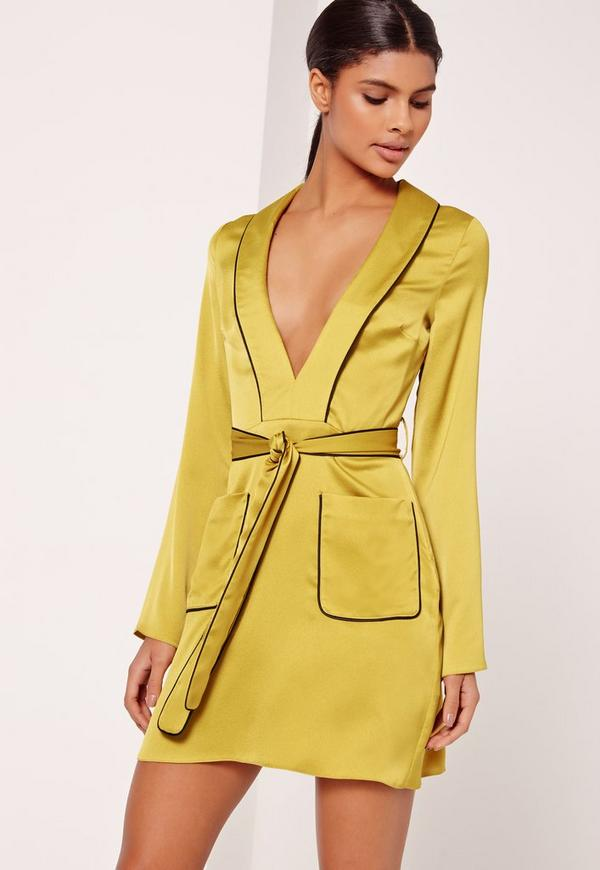Silky Plunge Pocket Detail Shirt Dress Chartreuse Green