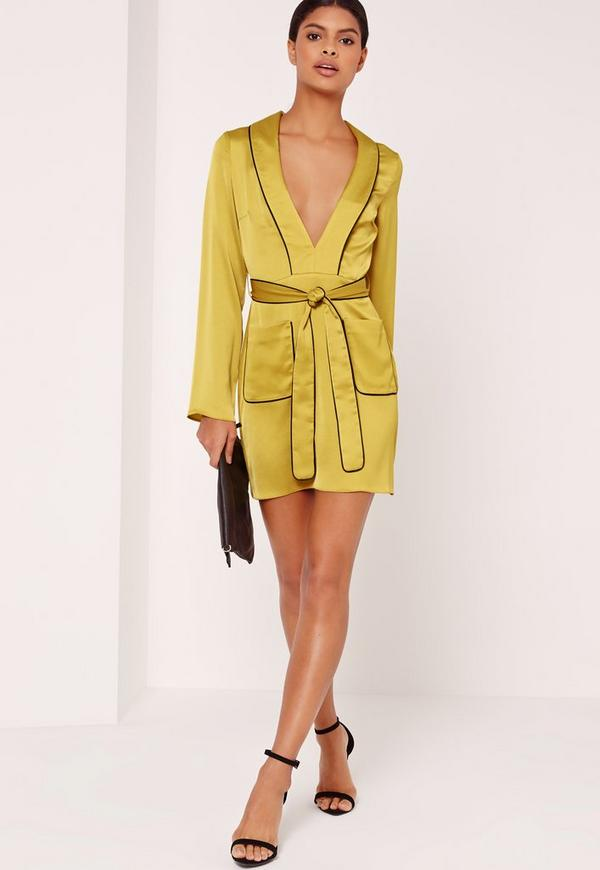 Silky Plunge Pocket Detail Shirt Dress Chartreuse Green | Missguided
