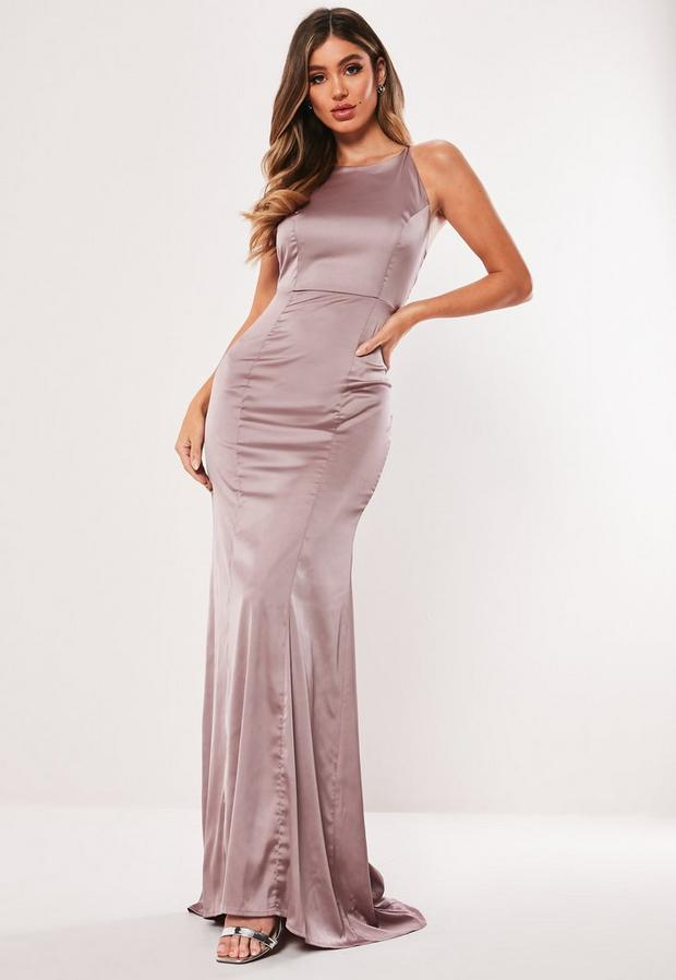 Missguided - Satin Round Neck Backless Maxi Dress - 2
