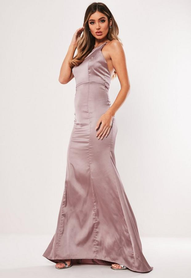 Missguided - Satin Round Neck Backless Maxi Dress - 3