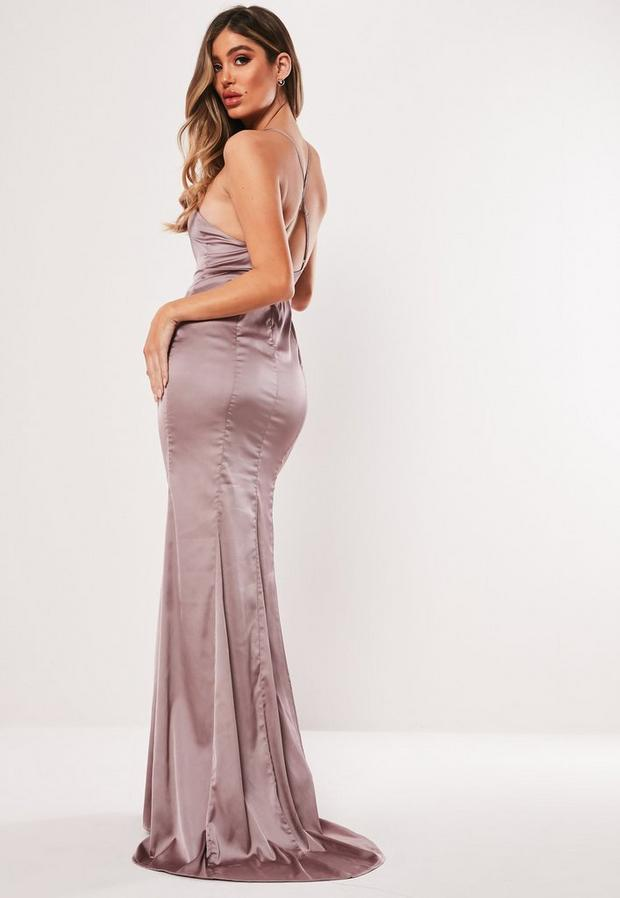 Missguided - Satin Round Neck Backless Maxi Dress - 4