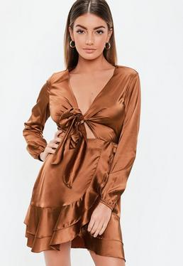e368e789b3 ... Bronze Satin Tie Frill Skater Dress