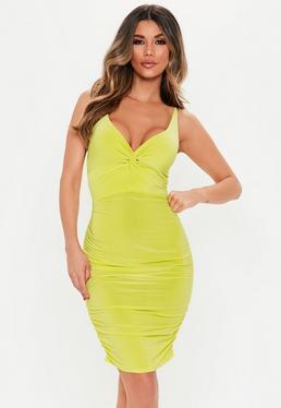 f77707fc4f1b Lime Twist Slinky Ruched Midi Dress