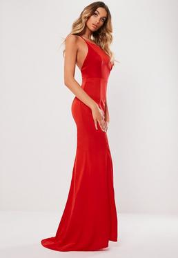 c861e72604ce Red Satin Round Neck Backless Maxi Dress