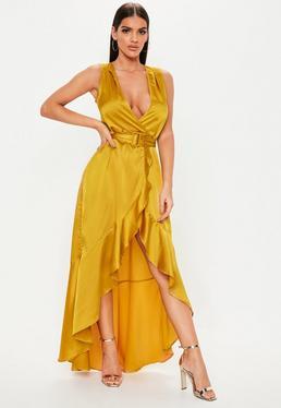 3d46f89309 ... Mustard Satin Wrap Buckle Maxi Dress